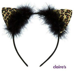 Halloween Leopard Glitter Cat Ears Headband New